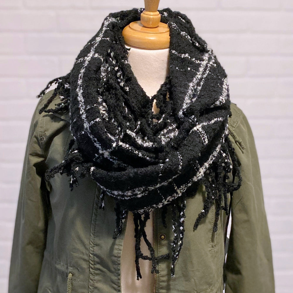 Black Plaid Fringe Infinity Scarf