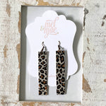 Leopard Leather Bar Earrings