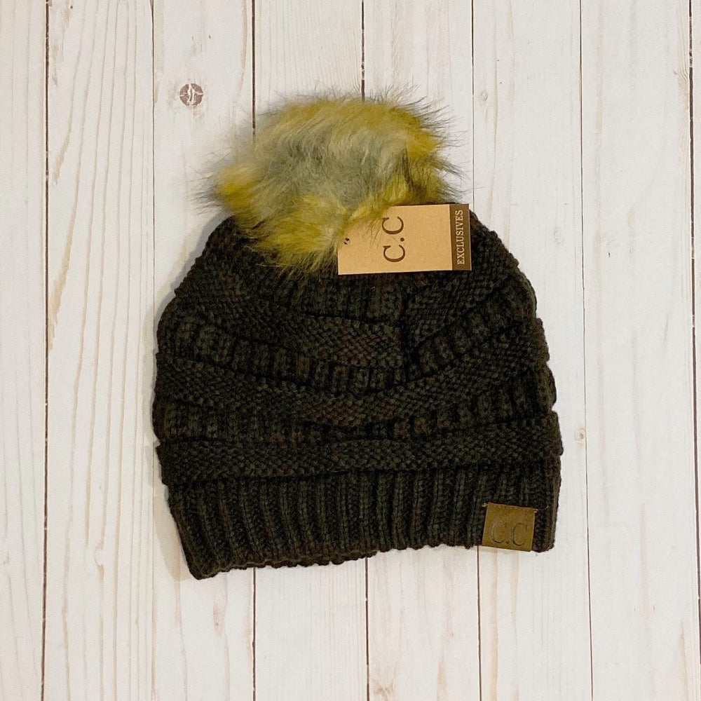 Brown Faux Fur Pom Pom Hat
