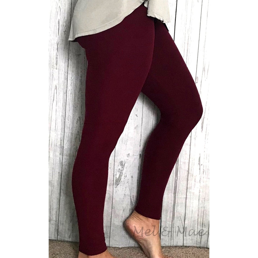 Burgundy Leggings - Mel & Mae
