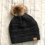 Charcoal Fur Pom Pom Hat