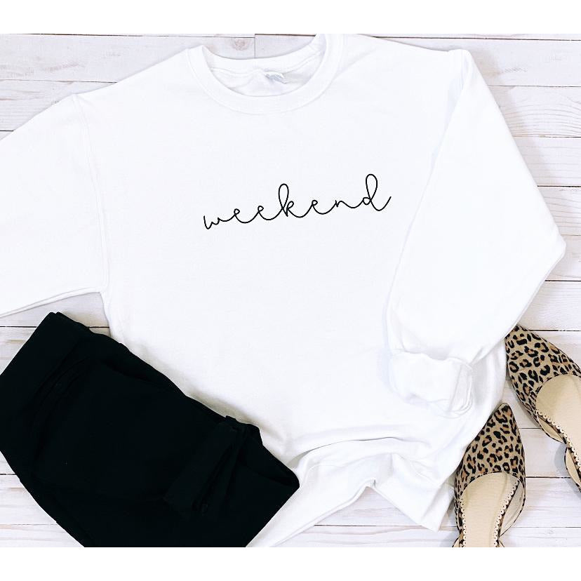 Cursive Weekend Sweatshirt in White