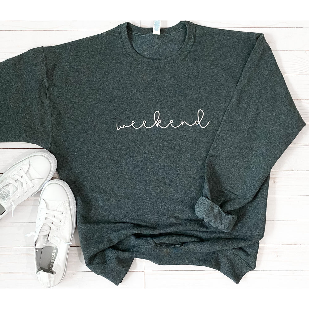 Cursive Weekend Sweatshirt in Charcoal