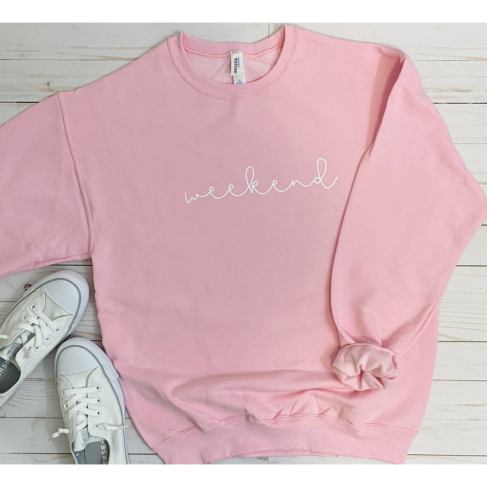 Cursive Weekend Sweatshirt in Pink