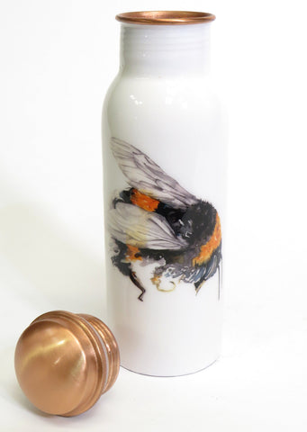 Copper Water Bottle with Large Bumble bee