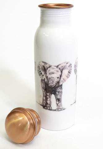 Copper water bottle with lid - baby elephant design