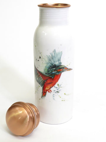 Copper water bottle and lid - h2o collection