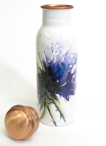 Copper water bottle with lid - thistle design