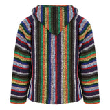 Back of multi-coloured striped hoodie