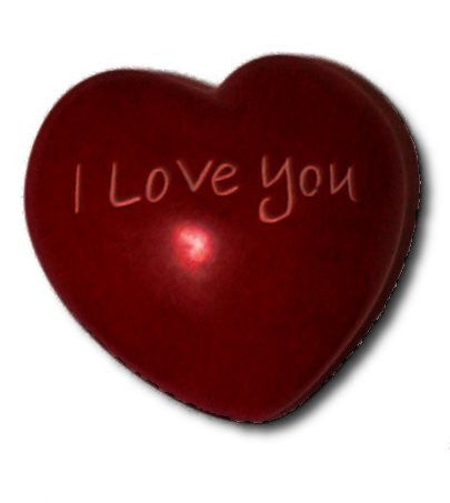 "Soapstone ""I Love you"" red heart"