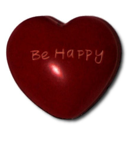 "Soapstone ""Be happy"" red heart"