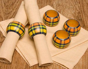 Fairtrade wooden napkin ring - citrus plaid