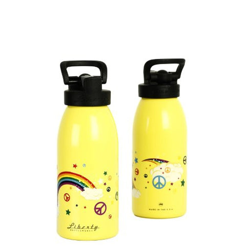 "Rainbow ""love and peace"" Design Recycled Aluminium Drinks Bottle"