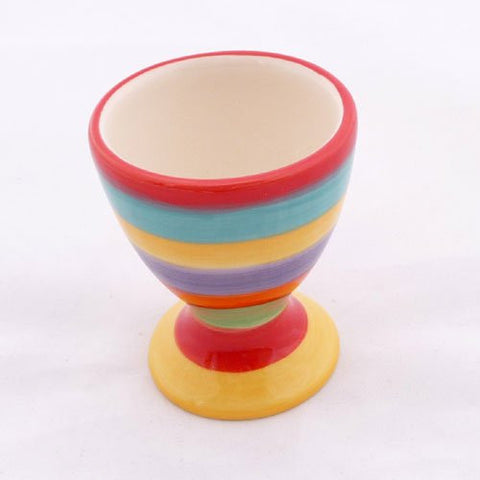 Rainbow stripe ceramic egg cup