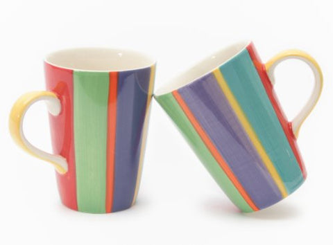 Rainbow Handpainted Vertical Stripe Mug