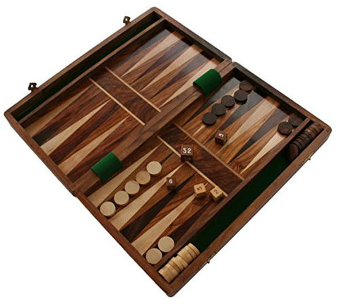 "Wooden 12"" Folding Backgammon Set"