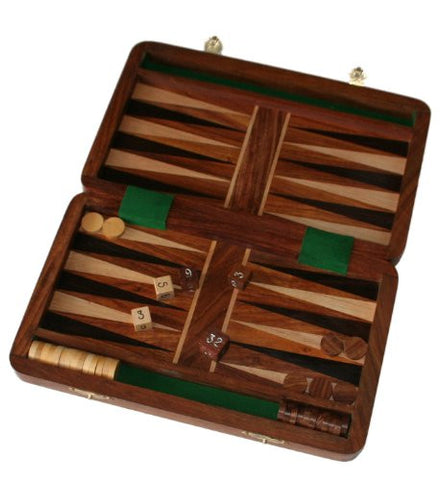 "Wooden Folding 10"" Backgammon set"