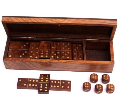 Wooden Dominoes and Dice Set