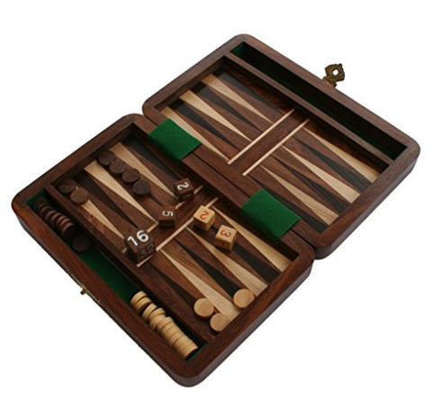 "Wooden 6"" Folding Backgammon Set"