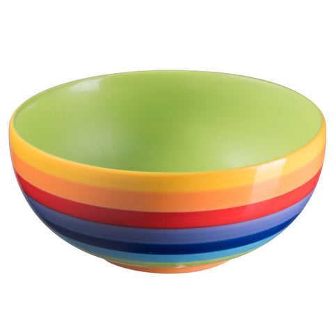 Rainbow Striped Ceramic Bowl