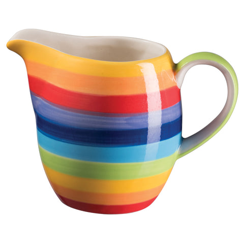 rainbow striped ceramic milk jug