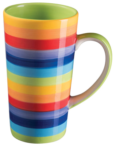 Tall rainbow coloured mug