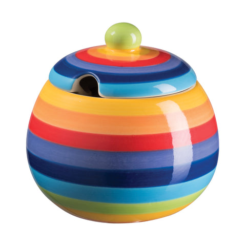 rainbow striped sugar bowl
