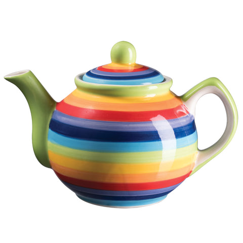 Rainbow stripe teapot for one