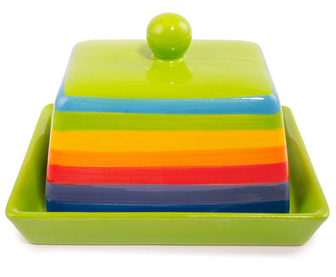 rainbow coloured butterdish