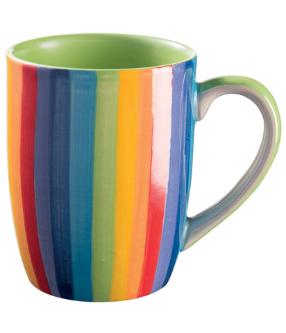 vertical rainbow striped mug