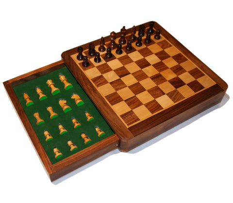 Wooden Magnetic Chess Set with Draw (10x10 inches)