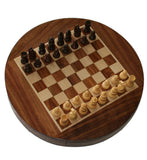 Round Wooden Magnetic Chess Set with Draw (9 inches)
