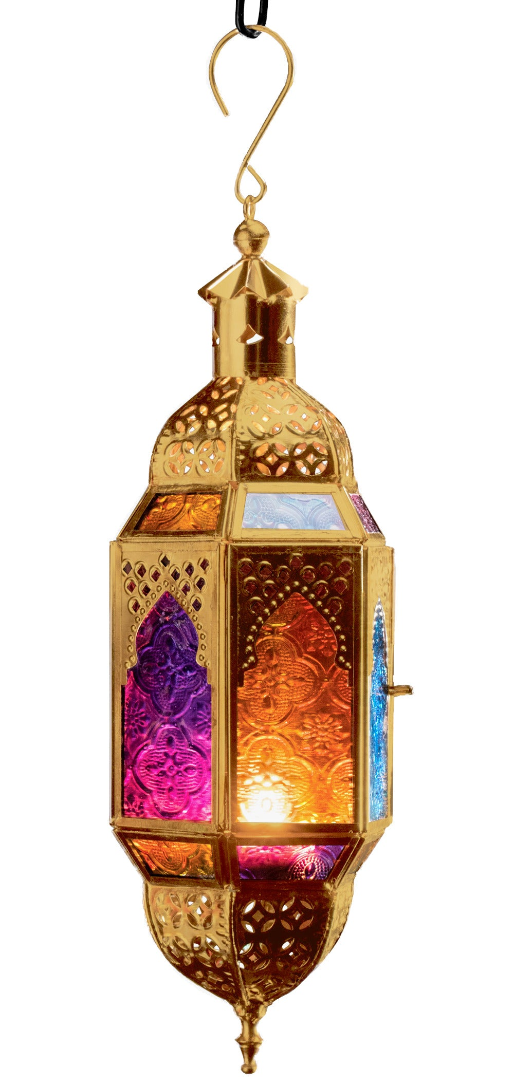 Large Moroccan Style Gold hanging Multi Colour Glass Lantern Large