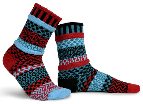 Solmate socks Mars red blue socks