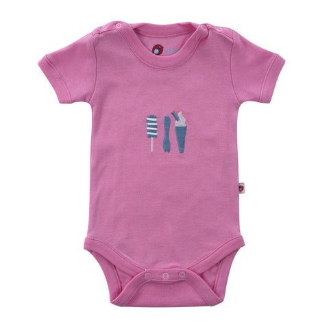 Piccalilly Ice Cream Embroidered Baby Body