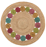 Jute Coloured Circles Round Rug 90cm x 90cm