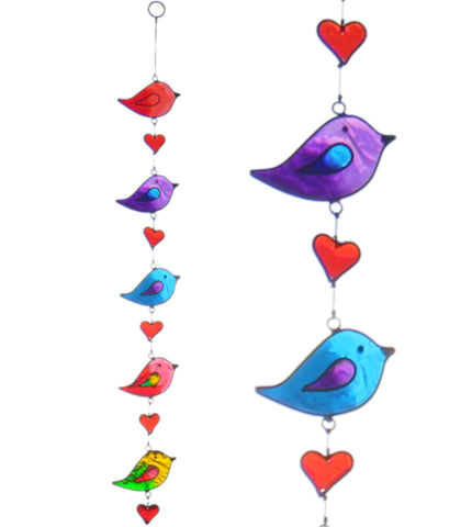 String of 5 Birds and Hearts Suncatcher