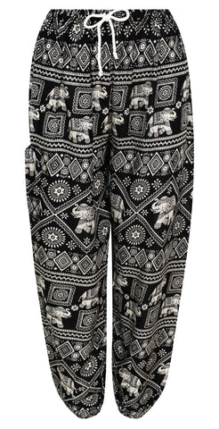 Black Elephant Print Harem Trousers