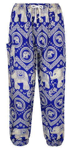 Blue Elephant Print Harem Pants