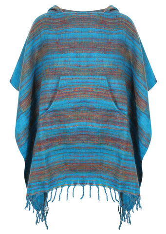 Blue Hooded Blanket Poncho