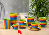 rainbow coloured cups and mugs of many sizes