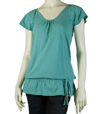 Giggle Kitty Stripe Top (Aqua)