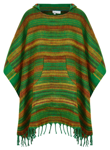Green Hooded Blanket Poncho