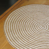 Cotton and Jute Spiral Round Rug 90cm x 90cm