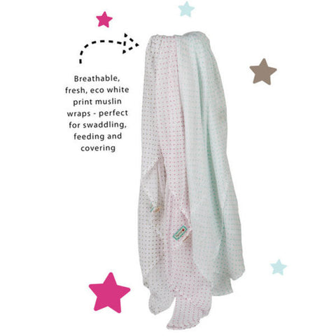 Piccalilly Little Star Muslin Wrap (Pink)