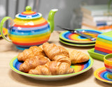 Rainbow Dinner Plate with croissants