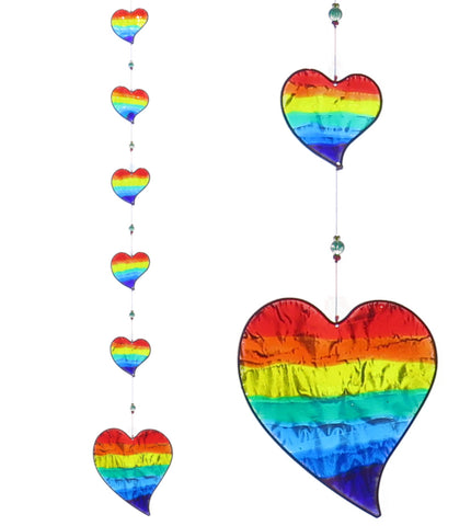 String of 6 Rainbow Hearts Sun Catcher