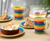 Striped coffee mug with cake