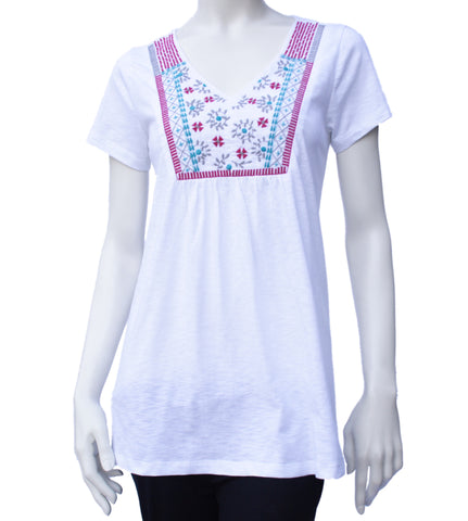 Nomads White Embroidered T Shirt