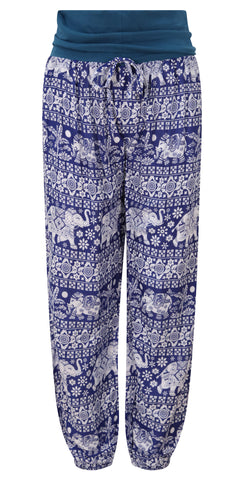 Blue Elephant Print Yoga Pants